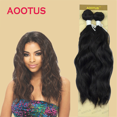 AOOTUS Synthetic Hair Extensions Natural wave 14 Inch 2# black