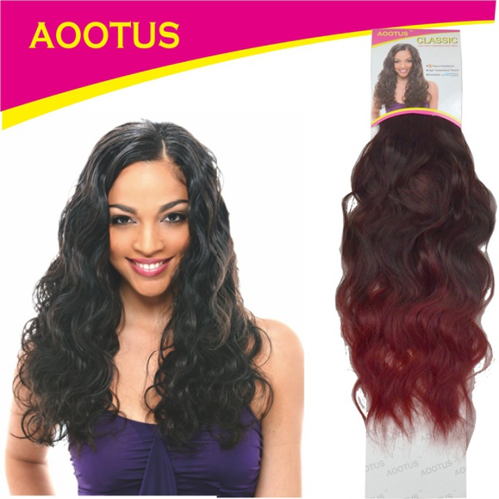 AOOTUS Synthetic Hair Extensions: Indian wave, 16 Inch 2# Wine Red
