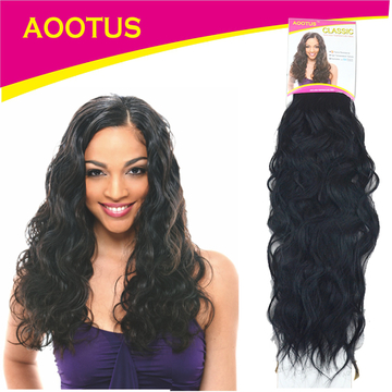 AOOTUS Synthetic Hair Extensions: Indian wave, 16 Inch 1# Black