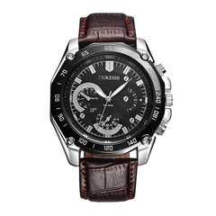 OUKESHI  Business Watches Men Brand Luxury Sport Digital Leather Band Alloy Quartz Wrist 04 40mm