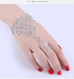 Personality fashion jewelry high quality water drill bow knot finger bracelet one chain B 1