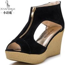 Neworldline Women Shoes Peep Toe Shoes Summer Sandals Casual Platform Wedges Sandals Shoes Black 37