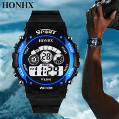 Men Watches Fashion Sports waterproof outdoor LED Watches blue as picture