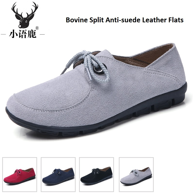 847f0c53b9e Women Shoes Loafers Cow Leather Bovine Split Anti-suede Leather ...