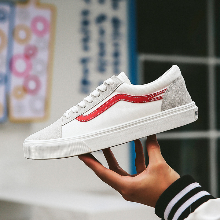 Men Classic All-match Leisure Board Shoes Spring and Autumn Fashion Breathable Outdoor Shoes White white & red 39