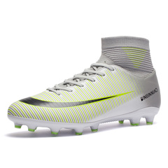 Fashion Children Adult Long Spike Soccer Shoes Outdoor Football Training Shoes Large Size 6 Color whtie 37
