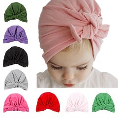 Super Cute Kids Baby Girls Cotton Full-head Baby Turban Headwrap With Rabbit Ears Knot Bow Cap Red