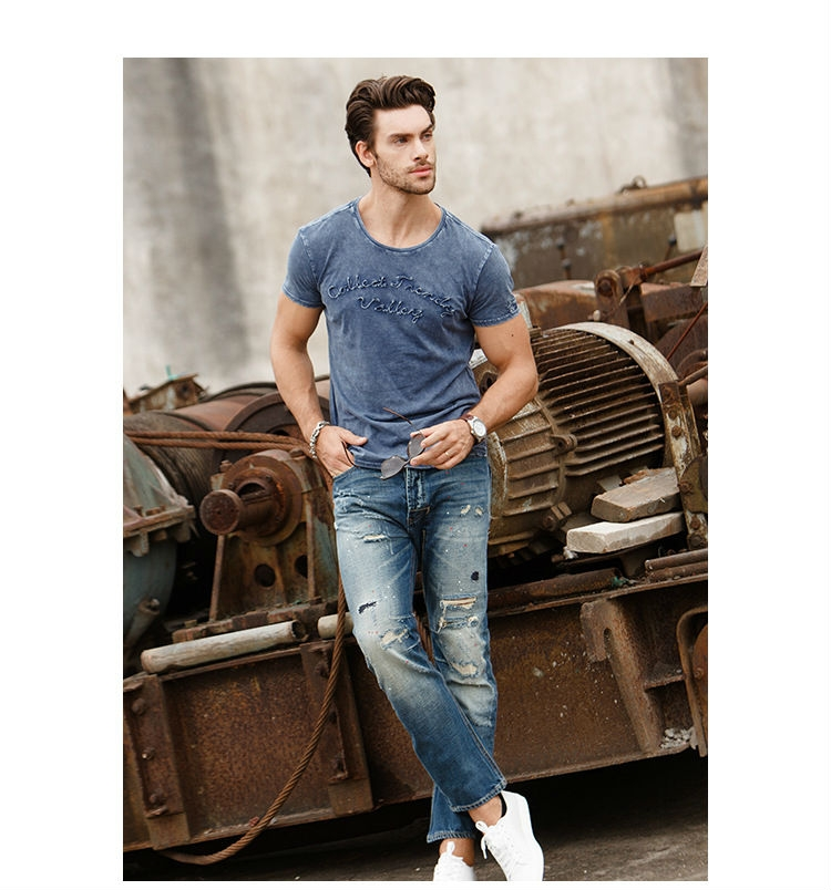 88a54353 Water Washed Fashion Design Mens T-shirts Short Sleeve O Neck Tops Tees  Cotton Casual T Shirt Men a m cotton: Product No: 10312675. Item specifics:  Brand: