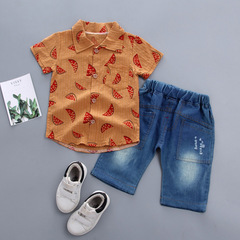 Toddler Baby Boy Gentleman Watermelon Short Sleeve Shirt+Denim trousers Set  casual boys set White 80CM
