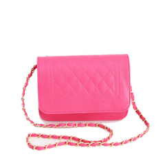 PU leather one shoulder handbag pink