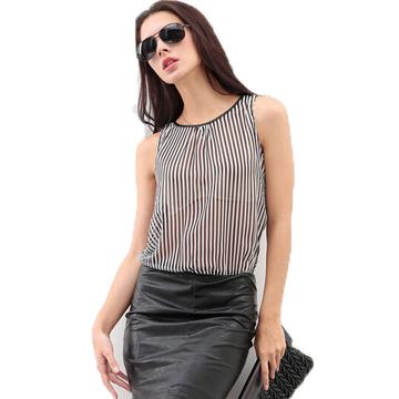 (Buy 1 Get 2 Gifts)  PU Leather Sleeveless Chiffon A-lineDress black and white L