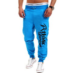 Outdoor Loose Elastic Waisted Lettersprinted Pants Trousers Light blue L