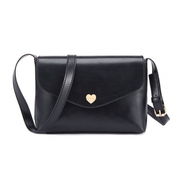 Fashion Heart Women Leather Handbags Cross Body Shoulder Bags Black 26 * 3.5 * 17CM