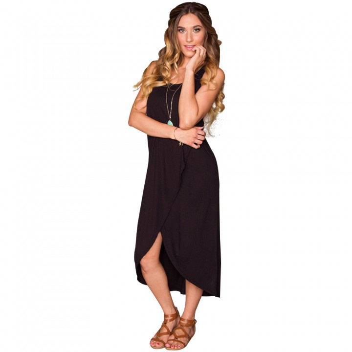 New Summer Women Sexy Sleeveless Irregular Hem Side Slit Vest Long Dress Black XL