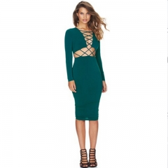 Fashion Women Sexy Lace-up Long Sleeves  Bodycon Midi Dress green L