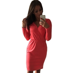 New Fashion Women Bodycon Good Quality Casual  Dress red XL