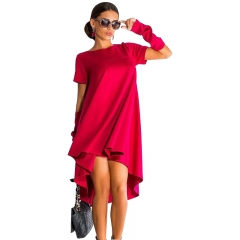 Summer Trendy Women O-Neck Solid Color Casual Shirt Dress Plus Size red XL