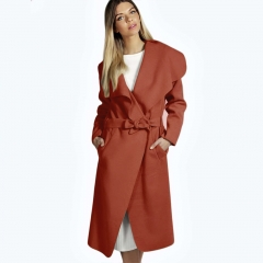 Women Elegant Cashmeres Coats Belted Shawl Collar Wool Coat Red L