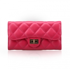 Elegant Ladies Quilted Clutch Purse Rose red One Size