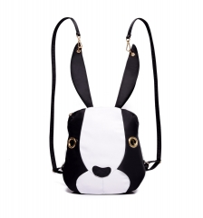 New Handbag Rabbit Nylon Canvas Shoulder Bag Backpack Black+White One size