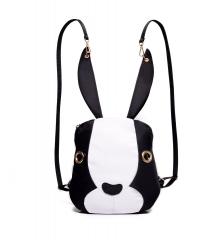 New Handbag Rabbit Nylon Canvas Shoulder Bag Backpack Black+White One size