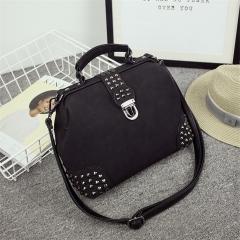 New Rivet Retro Doctor Bag Messenger Bag Black One Size