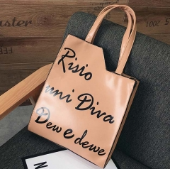 Casual Large Capacity PU Leather Tote Bag Khaki One Size