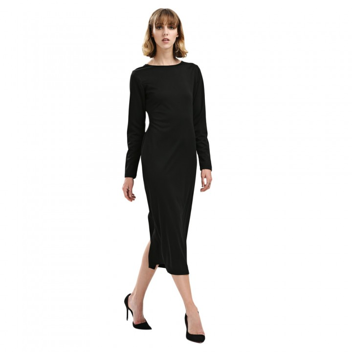 Women Simple Round Collar Long SLeeve Zipper Design Skinny Midi Dress Black L