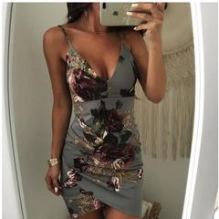 Women sexy  dresses Party Irregular Floral Print Backless Bodycon Dresses s green