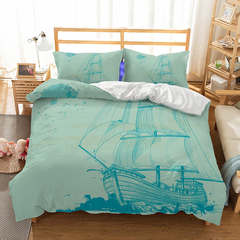 Sailing Style  Bedding Sets Fashion Button Double Pure Color Cotton Blue One size