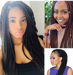 Dreadlocks extension wig three strands box braids hair 22 periwig hairpiece Black 18inch