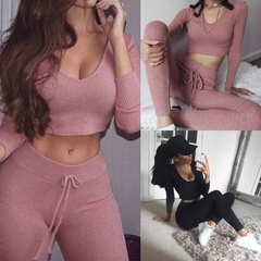 2 Piece Suit Casual Women Jumpsuits Long Sleeve Bodycon Sportware Top Sexy Rompers Playsuit Pink S