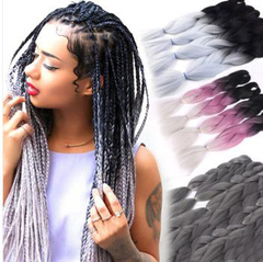 Dreadlocks hair extension wigs Two-color gradient grey big dreadlocks braids Light gray gradient 60CM