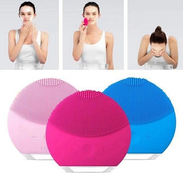 Face Cleaner Silicone Pore Facial Cleansing Brush Electric Waterproof Cleansing instrument Rose red