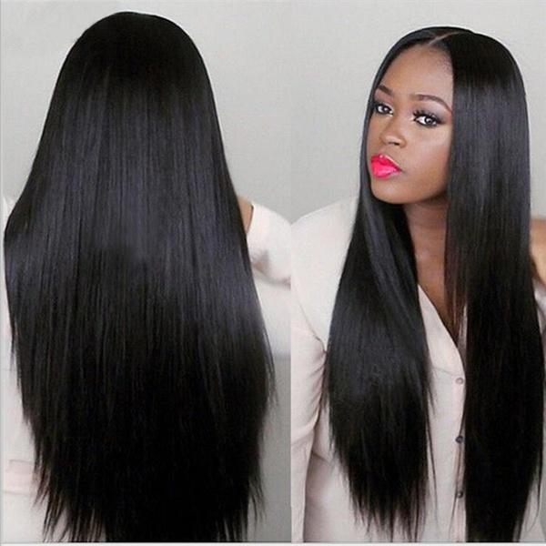 Straight Black Women's Fashion Hair Full Wigs long Wigs black 70cm