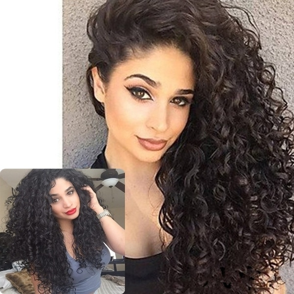 Curly wigs for Women  Frontal Plucked Full End Can Make 360 Circle Bun Fashion Wigs black one size