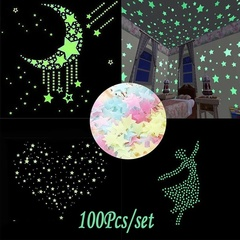 100pcs  Glow In The Dark Bedroom Home Decor Color Stars Luminous Fluorescent Wall Stickers Decal Multi-colour 3cm