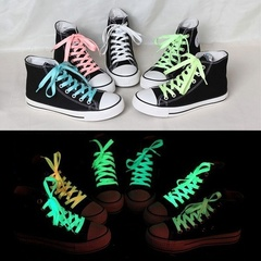 1Pair luminous shoelace glow in the dark color fluorescent shoelace Athletic Sport flat shoe laces White 100CM