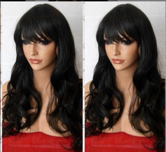 Synthetic wave long  wigs black high temperature silk hair women's wigs Black 28inch
