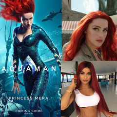 Women Fashion Aquaman Mera Cosplay wigs Fashion red long wigs Dark red 65cm