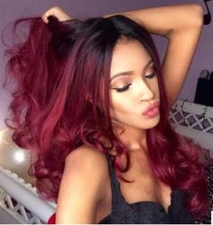 Long Wave Fashion Curly hair wigs ladies Gradient red  high temperature silk hair Wigs Gradient red 28inch