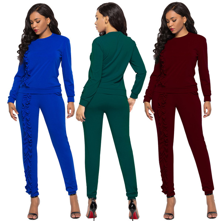 787102dccf22f2 Women s stitching wooden ear long sleeve casual sports suit autumn and  winter two-piece wine
