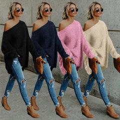 Women's Tops Loose Casual Fleece Long Sleeve Shoulder Sweater pink s