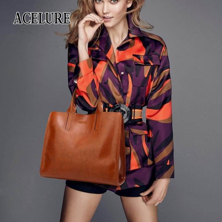 d8b5648ed010 Leather Handbags Big Women Bag High Quality Casual Female Bags Trunk Tote  Shoulder Bag Ladies brown
