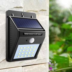 LED Solar Powered Motion Sensor Light Garden Fence Patio Security Wall Light Lamp Night Light Black 96*124*48mm 0.75W(30LED)