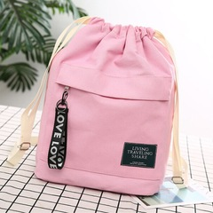 Women's Canvas Backpack Shoulder Bag Bucket Bag With String Pink One Size