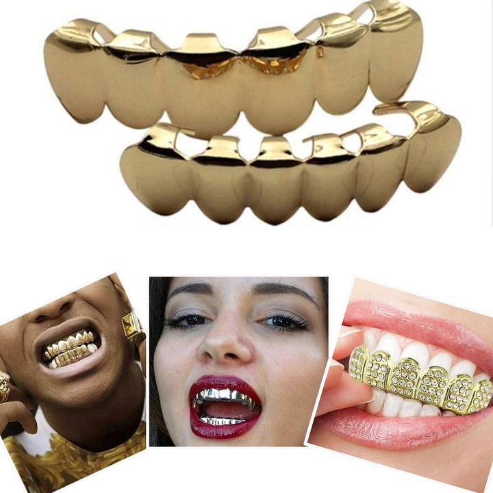 Hip Hop Golden Braces Men's Fashion Accessories Teeth Grillz Caps Top Bottom Grill Set Flat Teeth Gold(A) 10cm*10cm *3cm