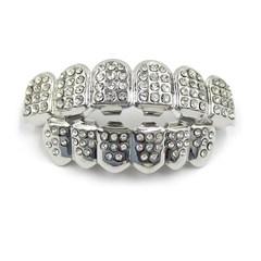 Hip Hop Golden Braces Men's Fashion Accessories Teeth Grillz Caps Top Bottom Grill Set Flat Teeth Silver(B) 10cm*10cm *3cm