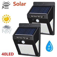 LED Solar Lighting & Home Improvement Wall Lamp PIR Sensor Waterproof Bulb Outdoor Night Light Black 96*124*48mm 0.65W(30LED)