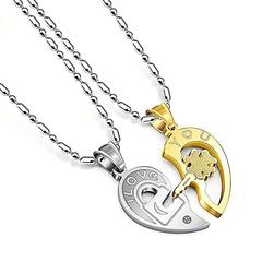 1pair Fashion Best Couple Chain Necklaces Pendant Lover Valentine's Gift A 50.0 cm